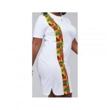 Native Kente Print Shirt Dress - White/Multicolour
