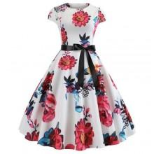 Floral Print Vintage Short Sleeve Dress - Multicolour