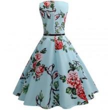 Floral Print Sleeveless Dress - Multicolor