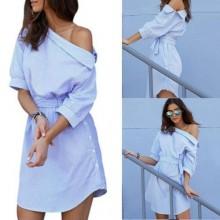 Stripped Slanted Shoulder Shirt Dress With Belt - Blue