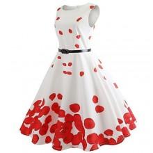 Rose Petal Print Sleeveless Dress - White/Red