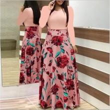 Women's Fashion Floral Print Dress-pink