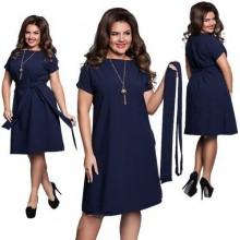 Short Sleeve Boat Neck Loose Dress With Belt - Blue