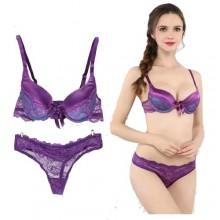 Sexy Lace Detail Bra & Thong Panty Set - Purple