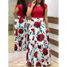 Floral Print Short Sleeve Maxi Dress - Red/White
