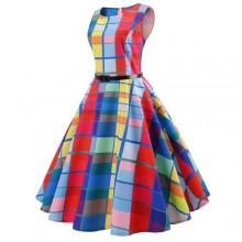 Fashion Plaid Print Sleeveless Flare Dress - Multicolour