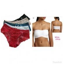 Lace Panty Set - 6pcs Multi + Tube Top - 3 Pcs White
