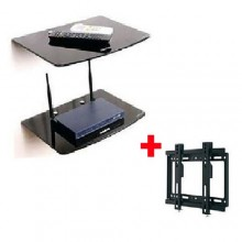 "2 Piece Decoder/DVD Wall Mount Rack & Wall Mount Bracket for 14''-42"" LED/LCD/Plasma TV - Black"