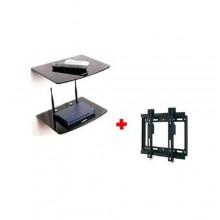 "2 Piece Decoder/DVD Wall Mount Rack & Wall Mount Bracket for 14''-42"" LED/LCD/Plasma TV - Black"