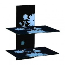 Double Glass Decoder/DVD Wall Mount Rack - Black