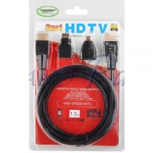 3-In-1 HDMI Cable With Micro and Mini Adapter - 1.5 Metres --- Black