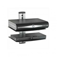 Double Glass Adjustable up and down Decoder/Console/DVD Wall Mount Rack - Black