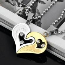 Heart Pendant Couple Necklace - Silver/Gold