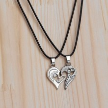 Heart Pendant Couple Necklace - Silver/Black