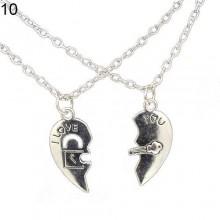 Couple Heart Pendant Necklace - Silver