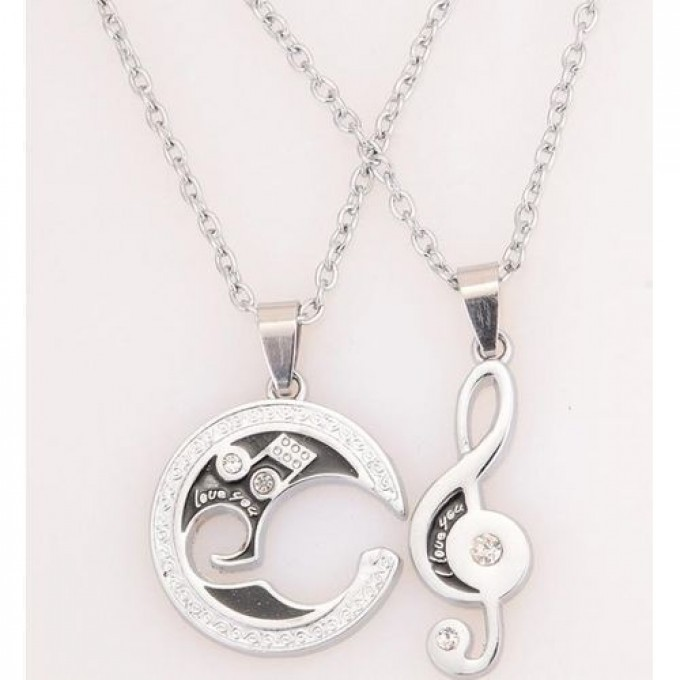 Music Note Pendant Couple Necklace - Silver