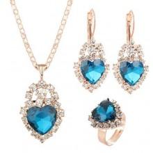 Fashion Crystal Love Pendant Necklace Earrings Jewelry Set-Lake Blue