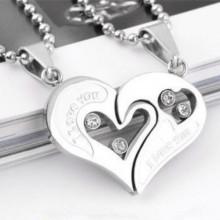 Fashion Heart Pendant Couple Necklace - Silver