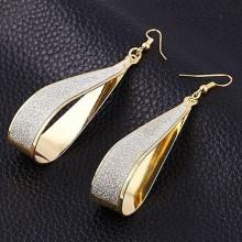 1pair Women Alloy Drop Shape Dangle Drop Earrings Jewelry—gold