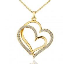Double Heart Pendant Necklace - Gold
