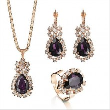 Fashion Crystal Rhinestone Earrings/Necklace Set - Gold/Purple