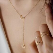 Women's Star/Moon Pendant Necklace - Gold