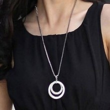 Women Double Rings Round Pendant Necklace- Necklace