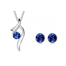 Pendant Necklace/Earrings Set - Silver/Blue