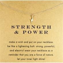 Women Lightning Shape Pendant Necklace - Gold