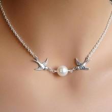 Birds Pearl Pendant Necklace - Silver