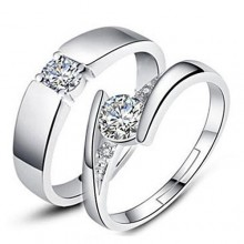 Fashion 2 Piece Adjustable Couple Rings - Silver