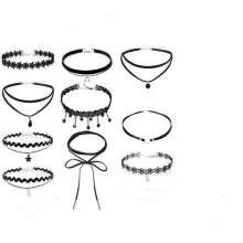 Choker Necklace Set - Black