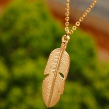 Women Tassel Feather Pendant Necklace Jewelry- Gold