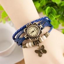 Cay Leather Vintage Bracelet Watch - Blue
