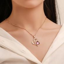 Fashion Heart Pendant Jewelry Set - Gold