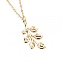 Leaf Pendant Necklace - Gold