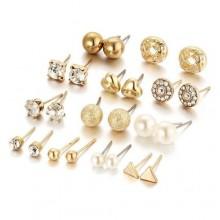 12 Pair Zircon Stud Earring Set - Gold