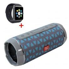 T&G Portable Bluetooth Speaker - Blue/Grey + Free Smart Watch