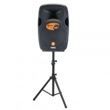 "12"" Rechargeable Bluetooth Loudspeaker with Stand and 2 Microphones - Black"