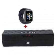 Musyl Portable Bluetooth Speaker - Black + Free Smart Watch - Black