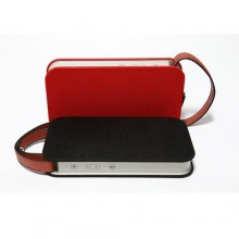 Portable Bluetooth Speaker with PU Leather Handle - Red