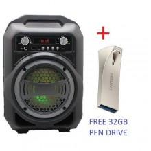 Karoake Bluetooth BS-12 USB Portable Speaker + Free 32gb Pen Drive --- Black