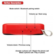 Portable Bluetooth Rechargeable Speaker - Red