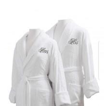 His & Hers Customised Bathrobe - White