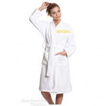 Embroidered Bridal Robe Towel - White