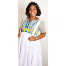 Short sleeve casual maternity dress - white and African print