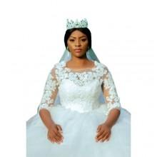 Three Quarter Laced Ball Wedding Gown - White