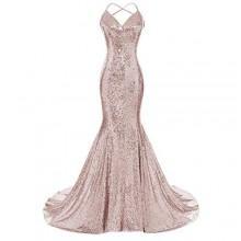 Sleeveless Sequin Mermaid Gown - Brown