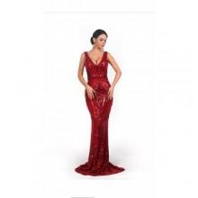 Classy Sleeveless Straight Long Dress - Wine