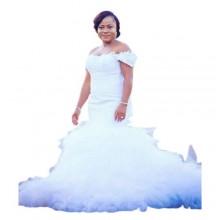 Off Shoulder Mermaid Wedding Gown - White